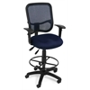 OFM Comfort Series Ergonomic Mesh Task Stool with Arms and Drafting Kit - ComfySeat™, Navy