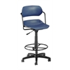OFM Martisa Series Plastic Task Stool with Drafting Kit, Navy Seat, Black Frame