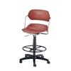 Martisa Series Plastic Task Stool with Drafting Kit, Wine Seat, Silver Frame