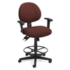 24 Hour Computer Task Chair with Arms and Drafting Kit, Burgundy