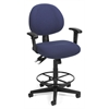 24 Hour Computer Task Chair with Arms and Drafting Kit, Blue