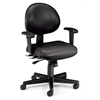 OFM 24 Hour Anti-Microbial Vinyl Computer Task Chair with Arms, Black