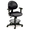 24 Hour Computer Task Chair (Arms, Drafting Kit, Vinyl), Black