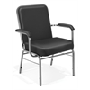 OFM Big and Tall Anti-Microbial Vinyl Stack Chair with Arms, Black