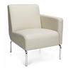 Triumph Series Left Arm Modular Lounge Chair with Vinyl Seat and Chrome Frame