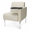Triumph Series Left Arm Modular Lounge Chair with Tablet Vinyl Seat and Chrome Frame