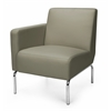 Triumph Series Right Arm Modular Lounge Chair with Vinyl Seat and Chrome Frame