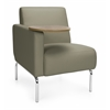 Triumph Series Right Arm Modular Lounge Chair with Tablet Vinyl Seat and Chrome Frame