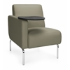 OFM Triumph Series Right Arm Modular Lounge Chair with Tablet Vinyl Seat and Chrome Frame