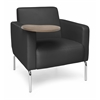 Triumph Series Lounge Chair with Tablet Vinyl Seat and Chrome Frame