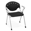 OFM Rico Stack Chair with Arms, Black
