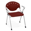 OFM Rico Stack Chair with Arms, Burgundy