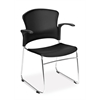 OFM MultiUse Chair with Plastic Seat and Back (Arms included), Black