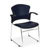 OFM MultiUse Chair with Anti-Bacterial/Anti-Microbial Vinyl Seat and Back (Arms included), Navy