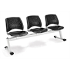 OFM Stars 3-Beam Seating with 3 Plastic Seats, Black