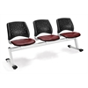 Stars 3-Beam Seating with 3 Vinyl Seats, Wine