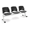 Stars 3-Beam Seating with 3 Vinyl Seats, Charcoal