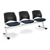 Stars 3-Beam Seating with 3 Vinyl Seats, Navy