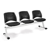 Stars 3-Beam Seating with 3 Vinyl Seats, Black