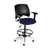 OFM Stars Swivel Stool with Arms, Charcoal