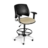 OFM Stars Swivel Stool with Arms, Khaki