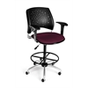 OFM Stars Swivel Stool with Arms, Burgundy