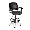 OFM Stars Swivel Stool with Arms, Graphite