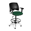 OFM Stars Swivel Stool with Arms, Forest Green