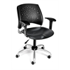 OFM Stars Swivel Plastic Chair with Arms, Black