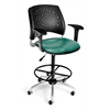 OFM Stars Swivel Vinyl Chair with Arms and Drafting Kit, Teal