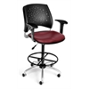 OFM Stars Swivel Vinyl Chair with Arms and Drafting Kit, Wine