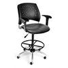 Stars Swivel Vinyl Chair with Arms and Drafting Kit, Charcoal