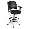 Stars Swivel Vinyl Chair with Arms and Drafting Kit, Black