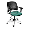 OFM Stars Swivel Vinyl Chair with Arms, Teal