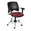 Stars Swivel Vinyl Chair with Arms, Wine