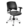 OFM Stars Swivel Vinyl Chair with Arms, Charcoal