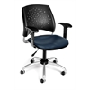 OFM Stars Swivel Vinyl Chair with Arms, Navy