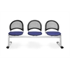 Moon 3-Beam Seating with 3 Seats, Royal Blue