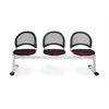 Moon 3-Beam Seating with 3 Seats, Burgundy