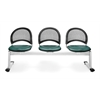 OFM Moon 3-Beam Seating with 3 Vinyl Seats, Teal