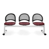 OFM Moon 3-Beam Seating with 3 Vinyl Seats, Wine