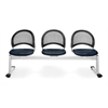 OFM Moon 3-Beam Seating with 3 Vinyl Seats, Navy