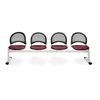 OFM Moon 4-Beam Seating with 4 Vinyl Seats, Wine