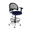 OFM Moon Swivel Stool with Arms, Charcoal