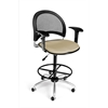 OFM Moon Swivel Stool with Arms, Khaki