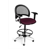 OFM Moon Swivel Stool with Arms, Burgundy
