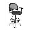 OFM Moon Swivel Stool with Arms, Graphite