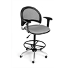 OFM Moon Swivel Stool with Arms, Putty
