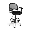 Moon Swivel Stool with Arms, Black