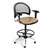 OFM Elements Moon Swivel Chair with Arms and Drafting Kit, Olympus Shoya